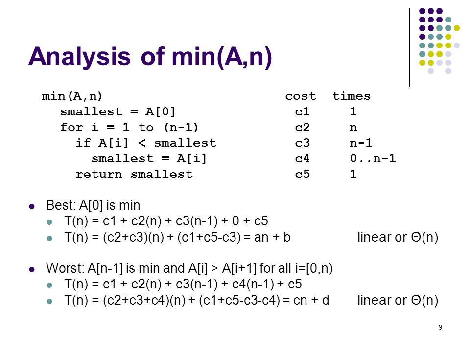 Analysis of min(A,n) smallest = A[0] c1 1 for i = 1 to (n-1) c2 n